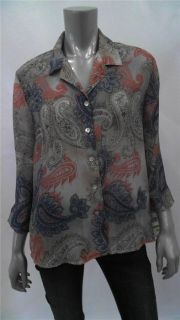 Alfred Dunner Mediteranea Petite Womens Crinkled 3 4 Sleeve Blouse Top