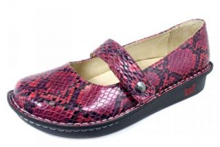Alegria Womens Feliz Snake Mulit Red Leather Shoes FEL 718 CLEARANCE