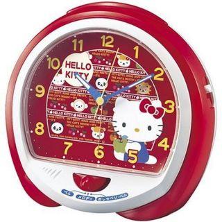 SEIKO Hello Kitty Alarm Clock w/Bell, Melody Talking Sound Sanrio New