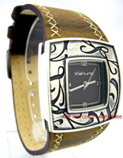 Kahuna Ladies Antique Case Brown Leather Strap Watch