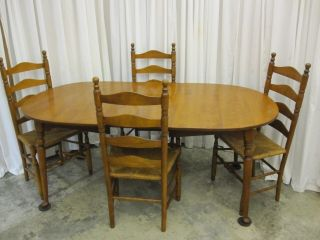 Ethan Allen Dining Table w Leaf 4 Ladder Back Chairs