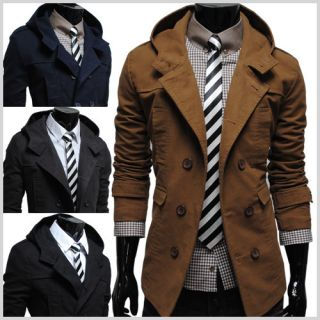 ALM THELEES Mens Casual Double Slim Cotton Hood Trench Coat Jacket