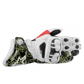 Mens GP Pro Leather Motorcycle Race Gloves White Black Yellow