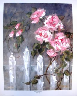 Marty Bell Hand Signed Painted Lithograph Pink Roses