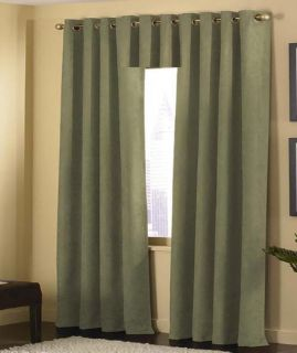 GROMMET SAGE GREEN MICRO SUEDE PANEL VALANCE WINDOW CURTAIN SG19274