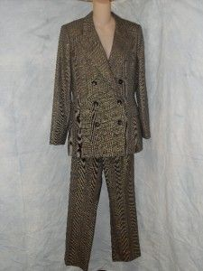 Linda Allard Ellen Tracy Pant Suit 10 Gold Metallic Plaid $650