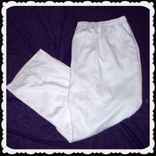 Allison Daley Womens White Elastic Waist Dress Casual Pants Plus Size