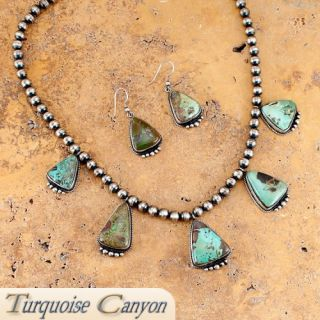 Navajo Native American Carico Lake Turquoise Necklace & Earrings SKU