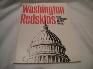 National Football League Media Press Fact Guide Mint 1962 Washington