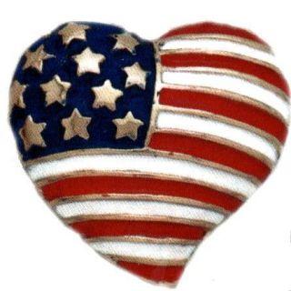 Patriotic American Flag Heart USA Lapel Pins TG4865