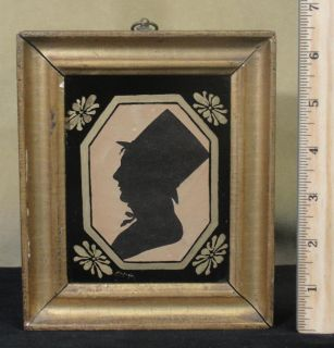 Antique 19thC American Folk Art Paper Cut Silhouette Reverse Painted