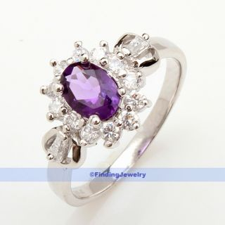 Luxury 7x5mm 0 8ct Oval Purple Amethyst Ring Size 7 25