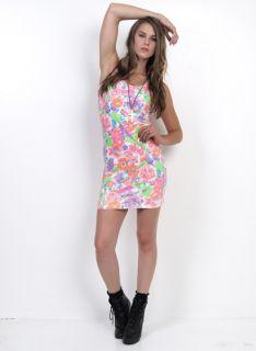 Vtg 80s 90s Neon Florals Print Revival Body Con Scoop Back Mini Dress