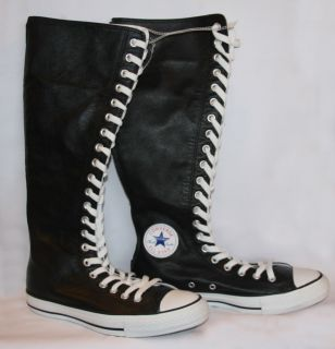 Converse Black All Star Leather Xxhi Knee High Tennis Shoes Sneakers