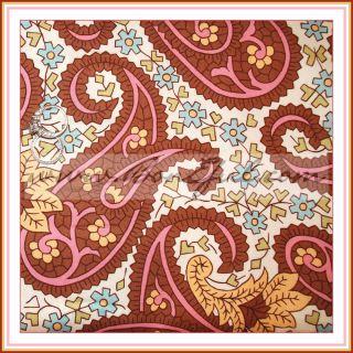 BOOAK Fabric VHTF Amy Butler Flower CHARM Paisley Brown Pink Blue OOP
