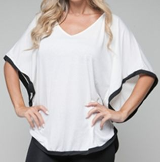 Size 2X SHIRT TOP WOMENS PLUS WHITE BLACK SHORT SLEEVE ROMAN FASHION