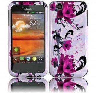 For T Mobile LG myTouch 4G E739 Red Flower Skin Snap on Hard Case