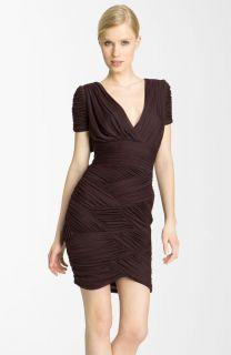 Halston Heritage Ruched Chiffon Jersey Dress Aubergine Small $395 00