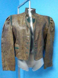 Alta Moda DISTRESSED Vtg Brown LEATHER Women Coat Jacket SZ 44