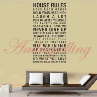 120cm 60cm Art Words Motto Poem House Rules Vinyl Wall Sticker Decor