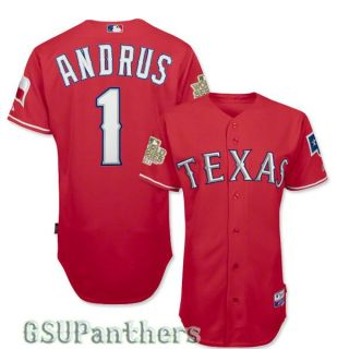 Elvis Andrus Authentic 2011 Texas Rangers World Series Red Jersey Sz