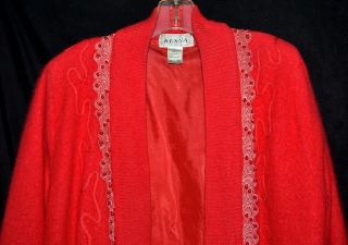 Fabulous Kesna Bright Red Angora Rabbit Hair Swing Sweater with Red