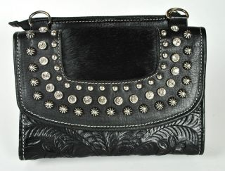 American West Womens Black Leather Cross Body Clutch Wallet Purse $158