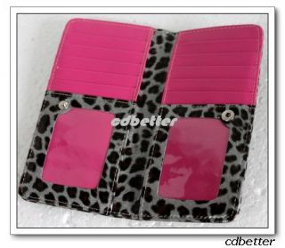 Womens Leopard Print Bling Card Holder Wallets Purses