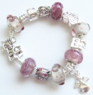 Pink Child Kid Love Hope Angel Owl Charm Bracelet