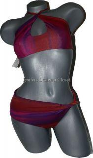 NWT ANDREA RIZZO convertible bikini swimsuit L designer choker twist