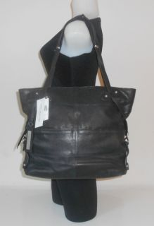 ANDREW MARC NEW YORK HANDBAG BLACK LAMBSKIN LEATHER TOTE BAG SLINGSHOT