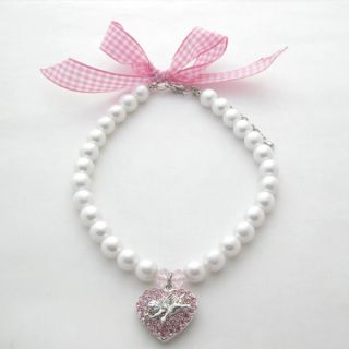 pearls pet necklace with pink heart angel charm pet collor with ribbon