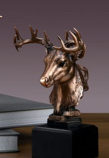 Animal Head Whitetail Deer Bronze Plat Statue Sculpture