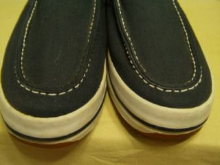 Anchor Bay Mens White Navy Canvas Boat Deck Shoes 7 5