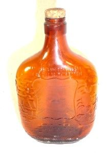 Antique 1965 Embossed Amber Glass One Pint Whiskey Bottle Owens