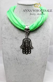 6pcs Pcs Silver Hollow Palm Pendant Necklace Skull Charm Jewelry