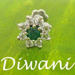 Real Diamond & Emerald 7.5mm big Flower Gold Nose Lip Labret Ring Stud