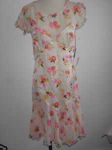 nwt anna sui silk floral summer dress us 6 aus 10 $ 420