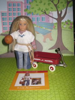 American Girl Mini Doll Julie w/ Toy Radio Flyer Wagon & Basketball
