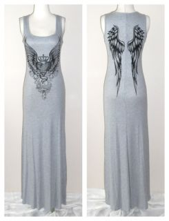 Crystal Heart Angel Wings Tattoo Gray Tank Maxi Dress Ed Hardy Perfume