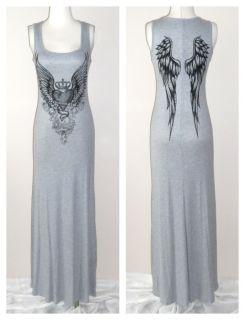 Crystal Heart Angel Wings Tattoo Gray Tank Maxi Dress Ed Hardy Perfume