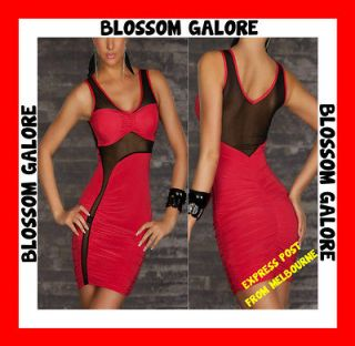 Sexy Red Black Mesh Sleeveless Party Cocktail Chic Formal Dress Ladies