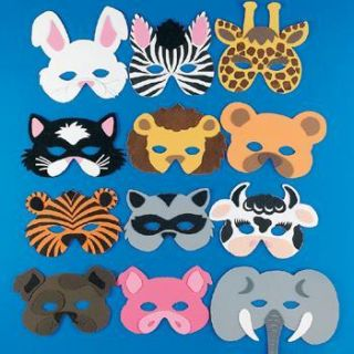12 Foam Zoo Animal Masks Safari Party Favors Costume