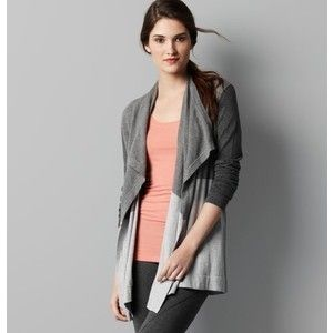 ann taylor loft Colorblock Open Cardigan Sweater GRAY NWT $54.50