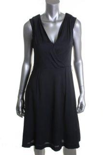 Anne Klein Navy Cap Sleeve Wrap Front Wear to Work Dress 16 BHFO