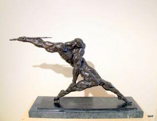 Wax Cast Bronze Sculpture Abstract Javelin Thrower Anatoly Mikhailov