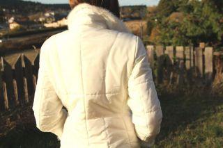 Andrew Marc Womens Designer Jacket Coat White Mink Trim New York SM