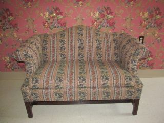 Ethan Allen Georgian Court Queen Anne Chippendale Upholstered Loveseat