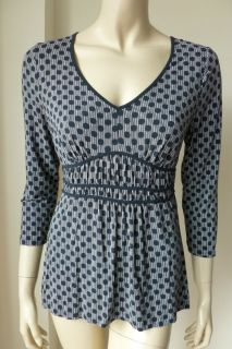 Ann Taylor Loft Black Polka Dot Strip Stretchy Pleated Elastic Top