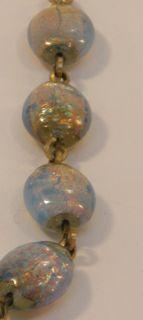 VINTAGE ART DECO BOHEMIAN OPALESCENT LAVENDER & GOLD FOIL GLASS BEAD